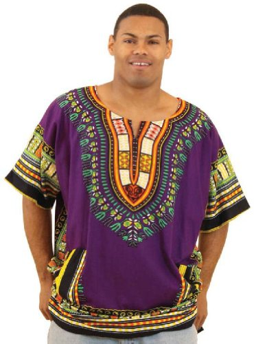 King-Sized Traditional Print Unisex Dashiki Top - Up to 68'' Chest - Available in Several Colors, 3X, Purple by African Inspired Fashions