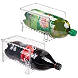 water bottle organizer for fridge - mDesign Large Stackable Kitchen Bin Storage Organizer Rack for Pop/Soda Bottles for Refrigerator, Pantry, Countertops and Cabinets - Holds 2-Liter Bottles - BPA Free, Pack of 2, Clear