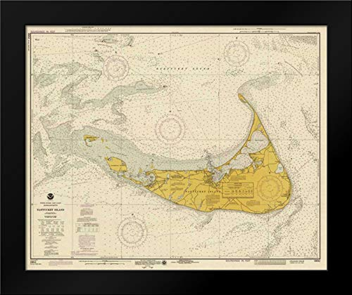 Nautical Chart - Nantucket Island ca. 1975 - Sepia Tinted 24x20 Framed Art Print by NOAA Historical Map-Chart