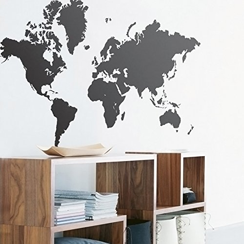 105cm*60cm Black World Map Art Living Room Bedroom Office Decoration Vinyl Removable Wall Decal - Map Vinyl