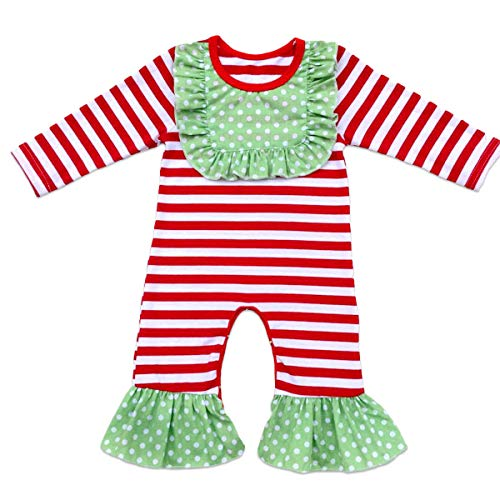 Toddler Little Girls Baby Christmas Romper Icing Ruffle Bottoms Long Sleeve Jumpsuit Playwear Pants Floral Printed Pajamas Nightwear Homewear Summer Fall Birthday Outfits Party Clothes Red 0-3M