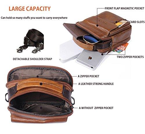 Belt Pouch Bag Genuine Leather iPhone 6 7 Plus Holster Case with Belt Loop Men  Travel Belt Bag Small Wallet Purse With Shoulder Strap Waist Bag Crossbody  ... a9c834aec141f