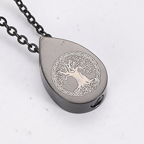 ZWT7797 Teardrop Tree of Life Memorial Ashes Urn Necklaces Stainless Steel Cremation Pendant Jewelry by Love of Life (Image #2)