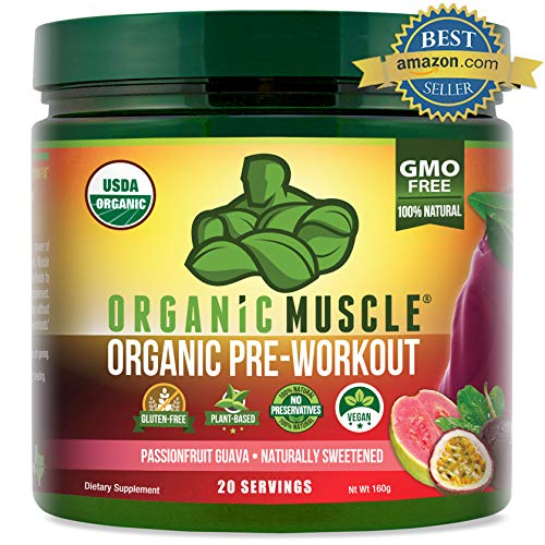 ORGANIC MUSCLE #1 Rated Organic Pre Workout Powder- Natural Vegan Keto Pre-Workout & Organic Energy Supplement for Men & Women- Non-GMO, Paleo, Plant Based - Passionfruit Guava - 160g