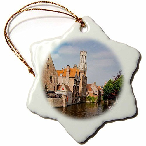 Lionkin8 Tourist On Boat Ride Through The Canals of Bruges Belgium Xmas Porcelain Decor Snowflake Ornament Home Decorations Hanging Crafts - 3 inch (3 Finish Snowflake)