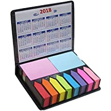 Colored Sticky Note Bundle Set, Mini Rectangular Notes and Index Flags Organizer, With Two Year Calendar. Leather Look Design Holder, Great Teachers Gift! By Mega Stationers