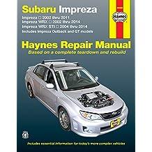 Subaru Impreza 2002 thru 2011, Impreza WRX 2002 thru 2014, Impreza WRX STI 2004 thru 2014: Includes Impreza Outback and GT Models