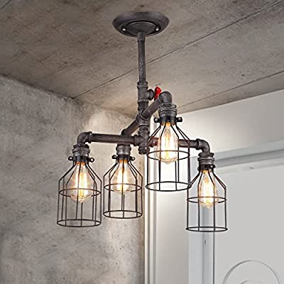 """Adjustable Wire Industrial Vintage Brushed Iron Cage Chandelier - LITFAD 33.46"""" Edison Ceiling Light Island Light Water Pipe Pendant Light with 6 Lights"""