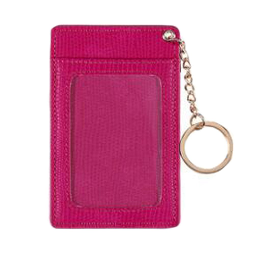 Practical ID Card Holder Card Case Keychain with 3 Card Slots PU, Rose red Kylin Express