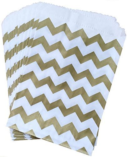 Outside the Box Papers Gold and White Chevron Treat Sacks 5.5 x 7.5 48 Pack Gold, White