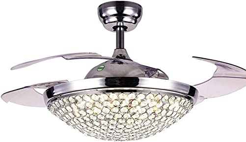 NOXARTE 42 Inch Fandelier LED Dimmable Warm Daylight Cool White Chandelier Chrome Promote Natural Ventilation Crystal Invisible Fan Fan Light Ceiling Fan Retractable Fan with Remote Control