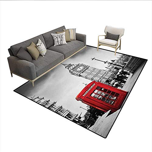 Carpet,Famous Telephone Booth and The Big Ben in England Street View Symbols of Town Retro,Area Silky Smooth Rugs,Red Grey 5'x6'