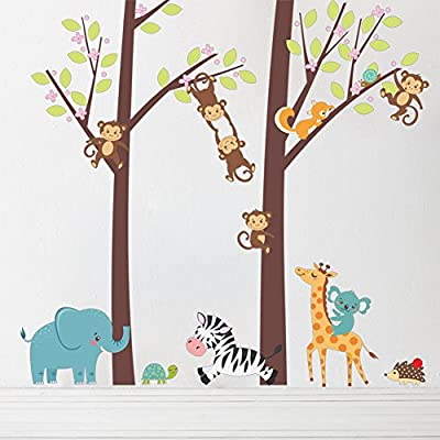 Amaonm 39x41 Inch Removable Cartoon Kids Room Wall Decal Giant Brown Tree and Jungle Forest Animals Lion, Giraffe, Monkey, Elephant Decorative DIY Peel & Stick Wall art Sticker Decals for Home Wall