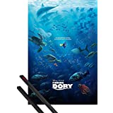 Poster + Hanger: Finding Dory Poster (36x24 inches) Unforgettable Journey And 1 Set Of Black 1art1® Poster Hangers