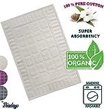 "Diadays 100% Organic 2018 Designed Plaid White Bath Mat for Bathroom Floor Antibacterial Turkish Cotton Reversible and Machine Washable Rug 20""x28"" Mildew Resistance Super Absorbent"