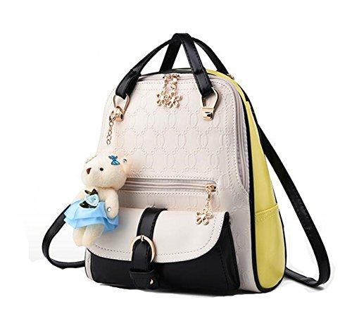 Women Schoolbag Leather Shoulder Cute White Soft And Black Lovely Mogor Backpack PU Bag dqw06dtx