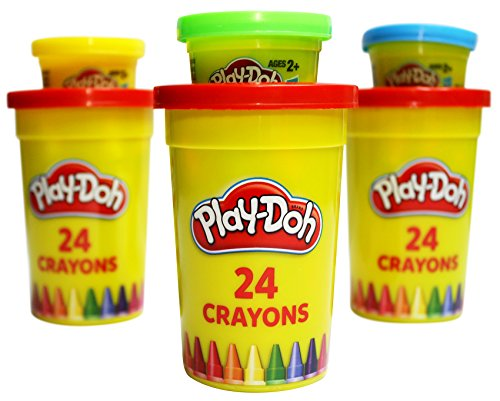 [New Play-Doh Set - 24 Count Crayons in Tub Plus 1oz Can Play-Doh Tub for Art & Activity] (24 Ct Tub)
