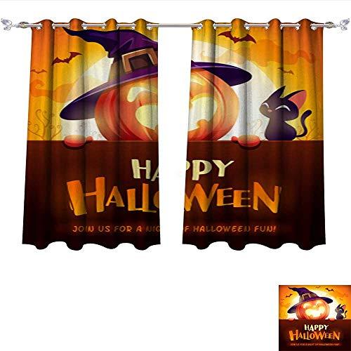 Room Darkening Wide Curtains Happy Halloween! Jack O Lantern Pumpkin Witch hat with Big Signboard in The Moonlight 1 Thermal Insulated Room Darkening Window W55 x -