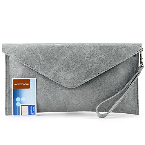 Wrist bag de T106G modamoda Wrist leather underarm Smooth bag bag Leather bag bag Gray Evening ital Clutch zYYwHd