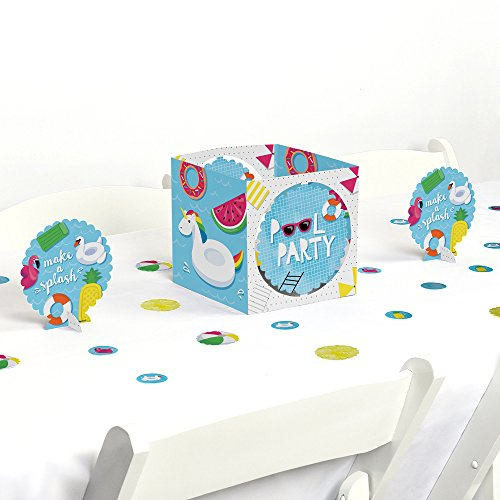 Big Dot of Happiness Make A Splash - Pool Party - Summer Swimming Party or Birthday Party Centerpiece & Table Decoration Kit