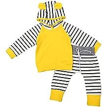 MIOIM 2Pcs Infant Baby Boys Girls Stripes Hoodies T-shirt Tops Pants Outfits Clothes Set