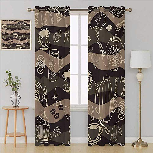 - Tea Party Grommet Curtain Window Curtain DrapeStylized Tea Lettering Hot Pots Coffee Beans Doodle Hearts on Wavy Lineslight Curtain 120 by 96 InchCocoa Brown Cream