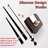 Dhorcas (#03) 1/2'' Threaded Motor and Black 6'' Hands and Hanger, Quartz Clock Movement Kit for Replacement