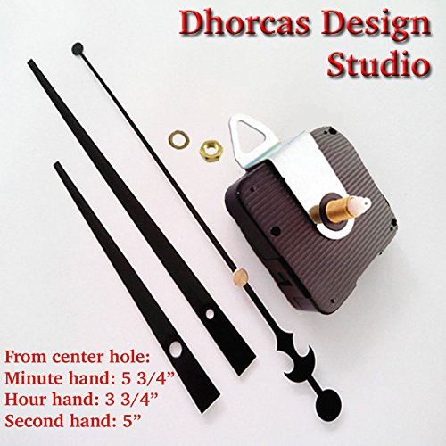 Dhorcas (#03) 1/2'' Threaded Motor and Black 6'' Hands and Hanger, Quartz Clock Movement Kit for Replacement by Dhorcas Designs