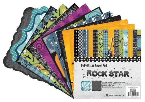 Best Creation 6 by 6-Inch 20 Page Glitter Paper Pad with Die-Cuts, Rock Star ()