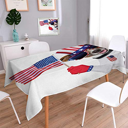 - Anmaseven 4th of July Rectangle Patterned Tablecloth Patriotic American Breed Dog Celebrating with Flag Hat and Old Glory Dog Tag Dust-proof Oblong Tablecloth Multicolor Size: W52 x L70