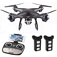 Aimik S70W 2.4GHz GPS WIFI FPV Drone with 120° Wide-angle 1080P HD Camera Headless Mode Follow Me Mode Altitude Hold IOS Android APP Contral (with 2 Battery)