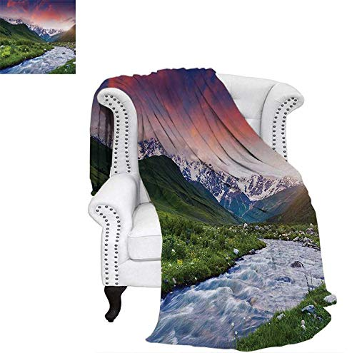 (Warm Microfiber All Season Blanket for Bed or Couch Colorful Overcast Sky Skirts Mt. Shkhara Svaneti Georgia Caucasus Mountains Throw Blanket 62