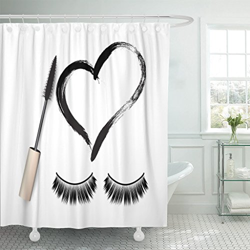 Emvency Shower Curtain Eyelash False Eyelashes Mascara Brush and Black Grunge Swatch in Heart Shape Woman's Cosmetics Eyeliner Waterproof Polyester Fabric 72 x 72 inches Set with Hooks (Eyelash Curtains)