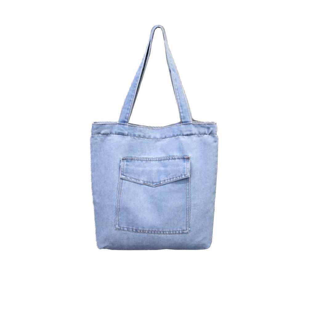 miaomiaogo女性キャンバスバッグデニム大容量ショッピングトートショルダーバッグ学生本Schoolbag可電話の財布バッグなど B075ZTJDT9  style two & light blue