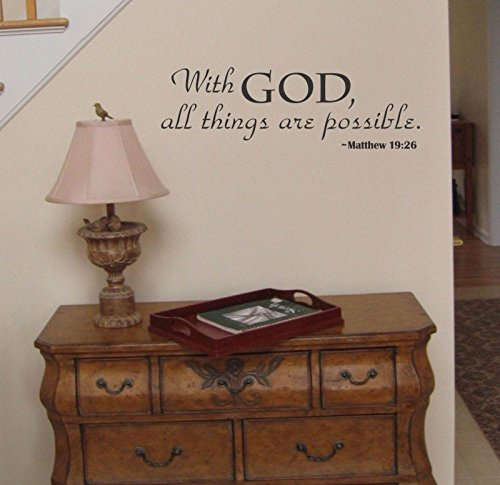 CHSGJY New With God All Things Are Possible Wall Decal sticker art spiritual quote Chocolate Brown Spiritual Chocolate