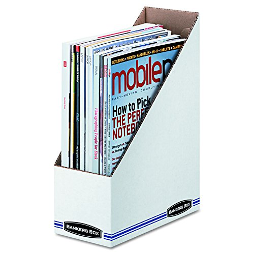 Bankers Box 10723 Corrugated Cardboard Magazine File, 4 x 9 1/4 x 11 3/4, White (Case of 12) (Fellowes Bankers Box Labels)