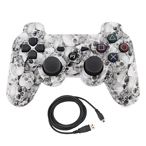Bowink Wireless Bluetooth Controller For PS3 Double Shock - Bundled with USB charing cord (Skull)