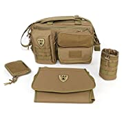 Tactical Baby Gear Deuce 2.0 Tactical Diaper Bag Combo Set and Changing Mat (Coyote Brown)
