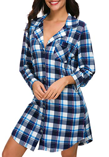 NORA TWIPS Nightgowns Women's Blue Plaid Botton Down Sleep Dress Long Sleeve Sleepwear