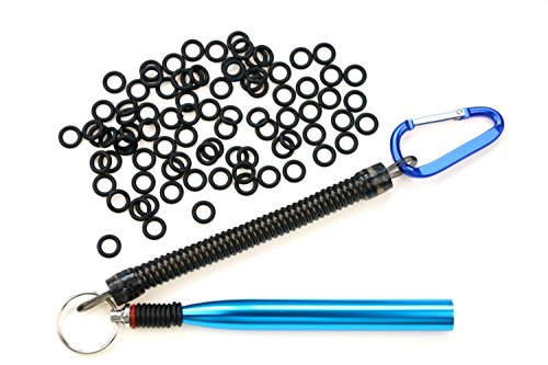 Wacky Worm Rig Tool With Wacky O-Rings(100 pcs) For Wacky Rigging Plastic Senko Style Worms & StickBaits Includes Lanyard (Blue Tool PLUS 100 O-rings)