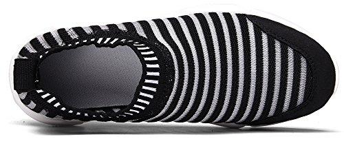 WaltZon Mens und Womens Casual Mesh Breathable Slip-On Loafers Mode Turnschuhe Leichte Wanderschuhe Schwarz