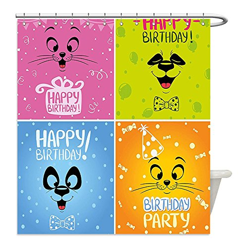 Liguo88 Custom Waterproof Bathroom Shower Curtain Polyester Birthday Decorations for Kids Cartoon Animals Cat Panda Face Party Items Pink Orange Blue and Green Decorative bathroom