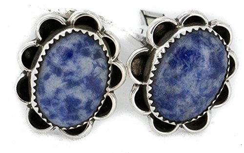 Turquoise Sterling Silver Cufflinks ($300 Retail Tag Handmade Authentic Made by Robert Little Navajo Silver Natural Lapis Native American Cuff Links)