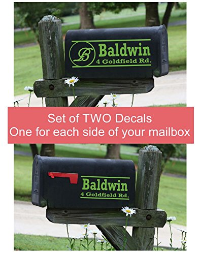 WALL DECOR PLUS MORE Personalized Mailbox Decal Sticker Set of 2 Name & Address for Both Sides (Ideas Design Mailbox)