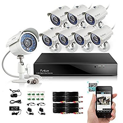 Funlux 8CH 960H Video DVR QR Code Quick View Security Camera System 8 Outdoor Weatherproof 700TVL High Resolution Day/Night IR-Cut Built-in CCTV Surveillance Cameras No Hard Drive