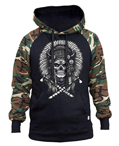 - Interstate Apparel Men's Indian Axe Skull Black/Camo Raglan Baseball Hoodie X-Large Black