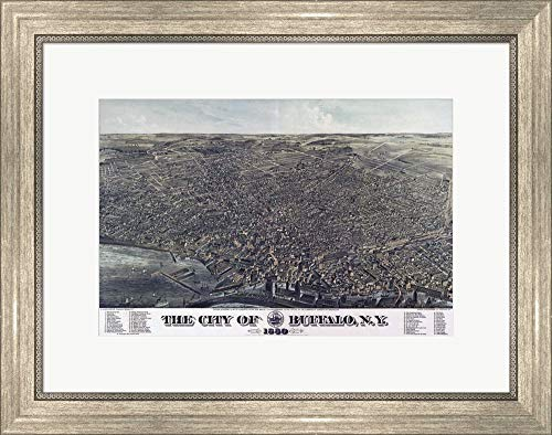 - Map of The City of Buffalo Ny 1880 by Vintage Lavoie Framed Art Print Wall Picture, Silver Scoop Frame, 23 x 18 inches