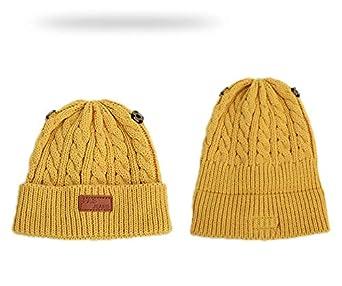Gshy Bonnet Tricot/é Chaud Mignon B/éb/é Bonnet /à 2 Pompon Fourrure Enfant Fille Chapeau B/éret /à Laine Tricot Hiver