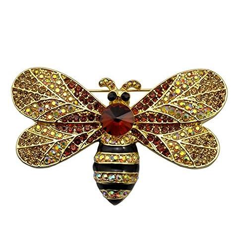 Honey Bee Swarovski Crystal Pin Insect Brooch Pin Women Jewelry Sweater Shawl Scarf Buckle (Wedgewood Pendant)