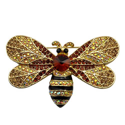 Honey Bee Swarovski Crystal Pin Insect Brooch Pin Women Jewelry Sweater Shawl Scarf - What Me Suit Spectacles